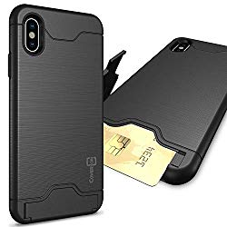 CoverON SecureCard Series iPhone Xs Max Case with Card Holder Slot and Kickstand for iPhone Xs Max (6.5″) – Black