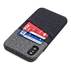 Dockem Luxe Wallet Case for iPhone X; Minimalist Card Case with UltraGrip Canvas Style Synthetic Leather, Slim Professional Snap On Cover w/ 2 Card Holder Slots [Black and Grey]
