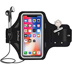 iPhone Xs Max Armband, JEMACHE Thin Sweatproof Gym Running/Workouts Arm Band Case for iPhone Xs Max 6.5″, iPhone XR (2018) 6.1″ with Key/Card Holder (Black)