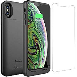 iPhone Xs Max Battery Case Qi Wireless Charging Compatible, Alpatronix BXXt Max 6.5-inch 3500mAh Ultra Slim Portable Rechargeable Protective Charger for iPhone Xs Max Juice Bank Power Case – Black