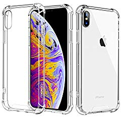 MoKo Compatible with iPhone Xs Max Case, Crystal Clear Reinforced Corners TPU Bumper and Transparent Hybrid Rugged Anti-Scratch Panel Fit with Apple iPhone Xs Max 6.5 inch 2018 – Crystal Clear