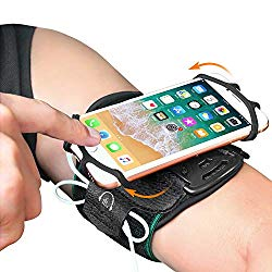 Phone Armband, Bovon Super Breathable Sports Arm Band for iPhone X/XS/XR/XS Max/8//7/6/6S Plus, Galaxy S9/ S9 Plus/S8/S7, 360°Rotatable Running Armband with Key Holder for Hiking Biking