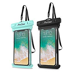 ProCase Universal Waterproof Case Cellphone Dry Bag Pouch for iPhone Xs Max XR XS X 8 7 6S Plus, Samsung Galaxy S9/S8 Plus/Note 9 8 6, Google Pixel 2 HTC LG Sony Moto up to 6.5″ -2 Pack, Green/Black