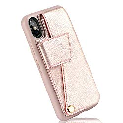 Wallet Case for iPhone Xs MAX, iPhone Xs MAX Case for Women, ZVEdeng Leather Wallet Case with Card Holder for Apple iPhone Xs MAX 6.5″- Rose Gold