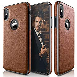 LOHASIC iPhone X Case, iPhone XS Case (2018) New Version Slim Thin Premium Leather Luxury PU Soft Flexible Hybrid Bumper Anti-Slip Grip Scratch Resistant Protective Cover for Apple iPhone X XS – Brown