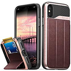 Vena iPhone Xs/X Wallet Case, [vCommute][Military Grade Drop Protection] Flip Leather Cover Card Slot Holder with Kickstand for Apple iPhone Xs 2018 / X 2017 5.8″ (Rose Gold/Black)