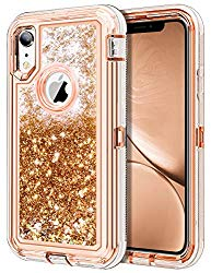 JAKPAK Case for iPhone XR Case Glitter Bling Sparkle for Girls Woman iPhone XR Case Heavy Duty Shockproof Full Body Protective Shell with Hard PC Bumper+TPU Back Cover for iPhone XR/10R 6.1″-Rose Gold