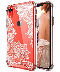 Case for iPhone XR,Cutebe Shockproof Series Hard PC+ TPU Bumper Protective Case for Apple iPhone XR 6.1 Inch 2018 Release Crystal Lace Design
