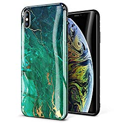GVIEWIN Marble iPhone Xs MAX Case, Ultra Slim Thin Glossy Soft TPU Rubber Gel Silicone Phone Case Cover Compatible iPhone Xs MAX 2018 6.5″ – Green/Gold