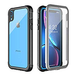 iPhone XR Case, Pakoyi Full Body Bumper Case with Built-in Screen Protector Slim Clear Shock-Absorbing Dustproof Lightweight Cover Case for iPhone XR (6.1 inch)-Black+Grey/Clear