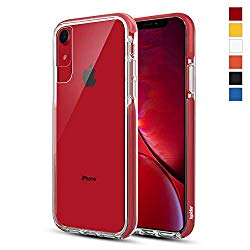 Ispider Crystal Clear Case Designed for iPhone XR, [3-Meter Anti-Fall] Premium Protective, Slim Case for Apple iPhone XR, [Hard PC Back and Dual-Layer Reinforced TPU Bumper Frame] – Red