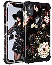 Lontect Compatible iPhone Xr 2018 Case Floral 3 in 1 Heavy Duty Hybrid Sturdy Armor High Impact Shockproof Protective Cover Case Apple iPhone Xr 6.1″ Display, Flower/Black