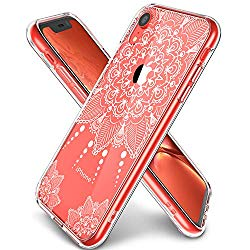 LUHOURI iPhone XR Case Clear, Girls Women Heavy Duty Protective Hard PC Back Case with Slim Soft TPU Bumper Cover Phone Case for iPhone XR, White Flower
