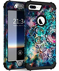 Hocase iPhone 8 Plus Case, iPhone 7 Plus Case, Heavy Duty Shockproof Protection Hard Plastic+Silicone Rubber Hybrid Protective Case for iPhone 7 Plus/iPhone 8 Plus – Mandala in Galaxy