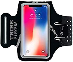 TRIBE Premium Running Armband & Phone Holder for iPhone X, Xs, Xs Max, Xr, 8, 7, 6, Plus Sizes, Galaxy S9, S8, S7, S9/S8 Plus, Note with Adjustable Elastic Band & Key/Card Slot – 100% Lycra
