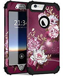 Hocase iPhone 6s Plus Case, iPhone 6 Plus Case, Heavy Duty Shockproof Protection Hard Plastic+Silicone Rubber Protective Case for iPhone 6 Plus/6s Plus w/ 5.5″ Display – Royal Purple/White Flowers