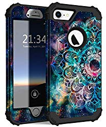Hocase iPhone 8 Case iPhone 7 Case, Shockproof Protection Heavy Duty Hard Plastic+Silicone Rubber Bumper Full Body Protective Case for iPhone 8, iPhone 7 (4.7-Inch Display) – Mandala in Galaxy