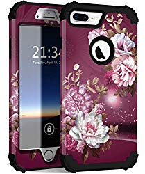 Hocase iPhone 8 Plus Case, iPhone 7 Plus Case, Heavy Duty Shockproof Protection Hard Plastic+Silicone Rubber Hybrid Protective Case for iPhone 8 Plus/iPhone 7 Plus – Royal Purple/White Flowers