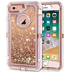 iPhone 6S Plus Case, iPhone 6 Plus Case, Anuck 3 in 1 Hybrid Heavy Duty Defender Case Sparkly Floating Liquid Glitter Protective Hard Shell Shockproof TPU Cover for iPhone 6 Plus/6S Plus – Rose Gold