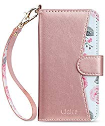 iPhone 8 Case, iPhone 7 Case, ULAK Premium PU Leather iPhone 8 Wallet Case with Kickstand Card Holder ID Slot and Hand Strap Shockproof Protective Cover for Apple iPhone 7/8 4.7 Inch, Rose Gold Floral
