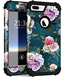 iPhone 8 Plus Case, iPhone 7 Plus case PIXIU Three Layer Heavy Duty Hybrid Sturdy Armor Shockproof Protective Phone Cover Cases for Apple iPhone 8 Plus/7 Plus(Rose Flower)
