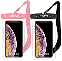 Waterproof Case 2 Pack for iPhone Xs Max XR XS X 8 7 6S Plus, Samsung Galaxy S10 S10e S9 S8 +/Note 9 8, Pixel 3 2 XL HTC LG Sony Moto up to 6.5″ (Black and Pink)