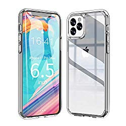 Ztotop Vitreous Luster Series Case for iPhone 11 Pro Max, Clear Tempered Glass Back Panel & Soft Silicone Bumper Frame with Anti-Scratch Shockproof Protection for iPhone 11 Pro Max 6.5-inch – HD Clear