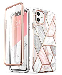 """i-Blason Cosmo Series Case for iPhone 11 (2019 Release), Slim Full-Body Stylish Protective Case with Built-in Screen Protector, Marble, 6.1"""""""