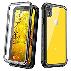 Justcool Designed for iPhone XR Case, Clear Full Body Heavy Duty Protection with Built-in Screen Protector Shockproof Rugged Cover Designed for iPhone XR Cases (2018) 6.1 Inch (Black)