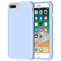 iPhone 8 Plus Case, iPhone 7 Plus Case, Anuck Soft Silicone Gel Rubber Bumper Case Microfiber Lining Hard Shell Shockproof Full-Body Protective Case Cover for iPhone 7 Plus /8 Plus 5.5″ – Light Blue