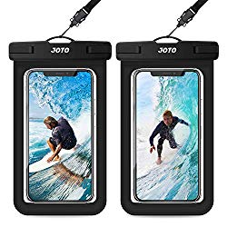 JOTO Universal Waterproof Pouch, IPX8 Waterproof Cellphone Dry Bag Underwater Case for iPhone 11 Pro Max Xs Max XR X 8 7 6S+, Galaxy S10+ S9 S8+/Note 10 10+ 5G 9 8, Pixel 3a up to 6.8″ -2 Pack, Black